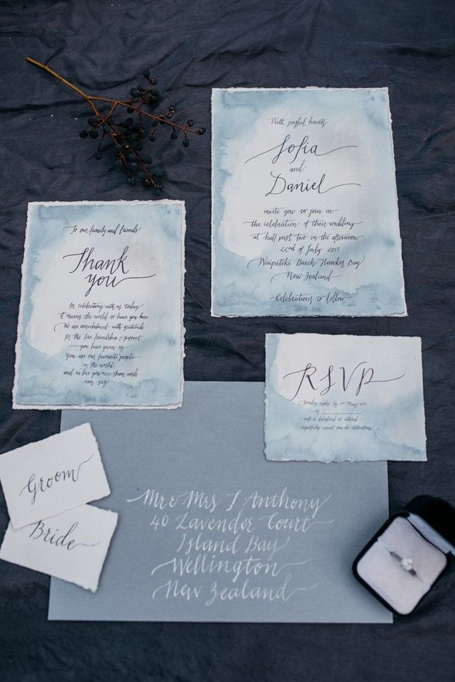 beach wedding invitation examples%0A Blue watercolor and calligraphy wedding invitation suite   Meredith Lord