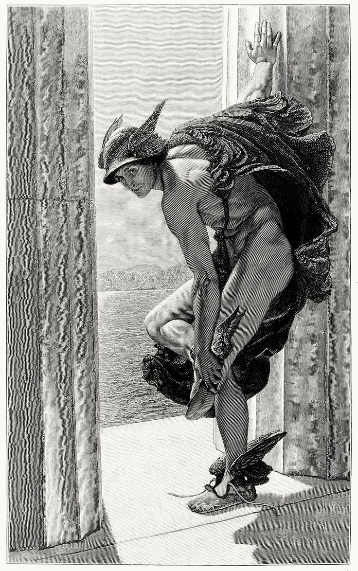 Hermes, after a painting by W. B. Richmond. From The magazine of art vol. 9, London, Paris, New York, Melbourne, 1886. (Source: archive.org) oldbookillustrations: