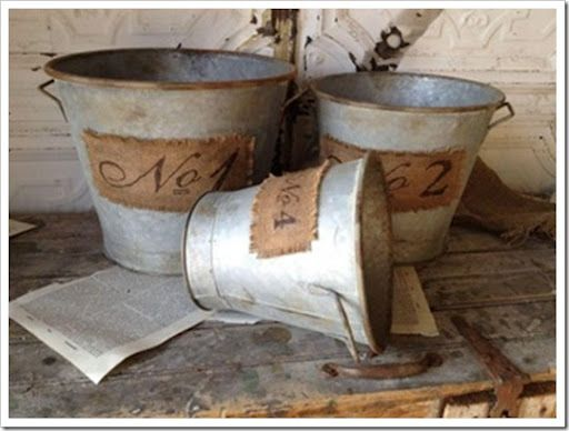 285 best burlap crafts images on pinterest hessian for Rustic galvanized buckets