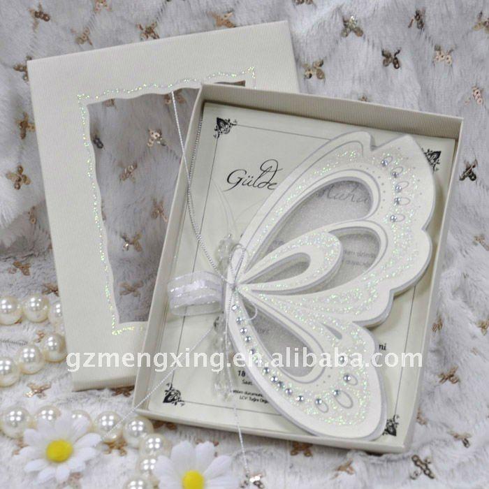 Custom Modern Unique Cream Butterfly Wedding Invitations With Wedding Words -- T192