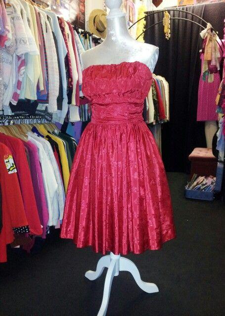 Original 1950's Bombshell Satin Dress