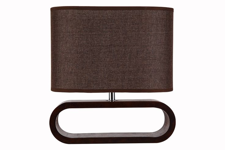 LOTUS series: E27 table lamp - Dark Wood and Brown Cloth Shade | Online Lighting