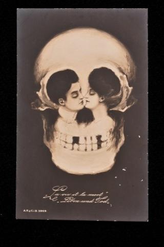 Tete de Mort postcard, c.1900 ,   (An exhibition about death) Wellcome Collection London