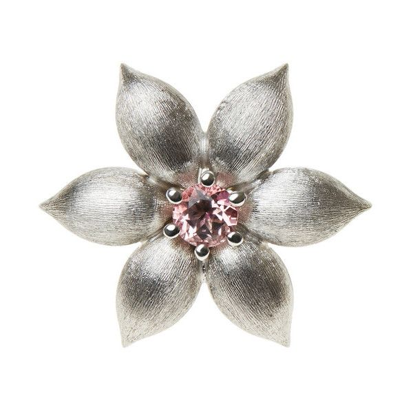 La Perla Garden Jewels White-Gold And Pink Topaz Flower Element ($1,700) ❤ liked on Polyvore featuring jewelry, intimates, daisy jewelry, flower jewelry, daisy jewellery, daisy flower jewelry and engraved jewellery