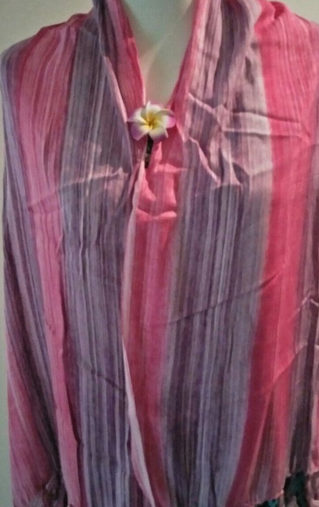 SHAWL IN PINK OMBRE RAYON. FABRIC.SHAWL/COVER UP/WRAP -  NEW