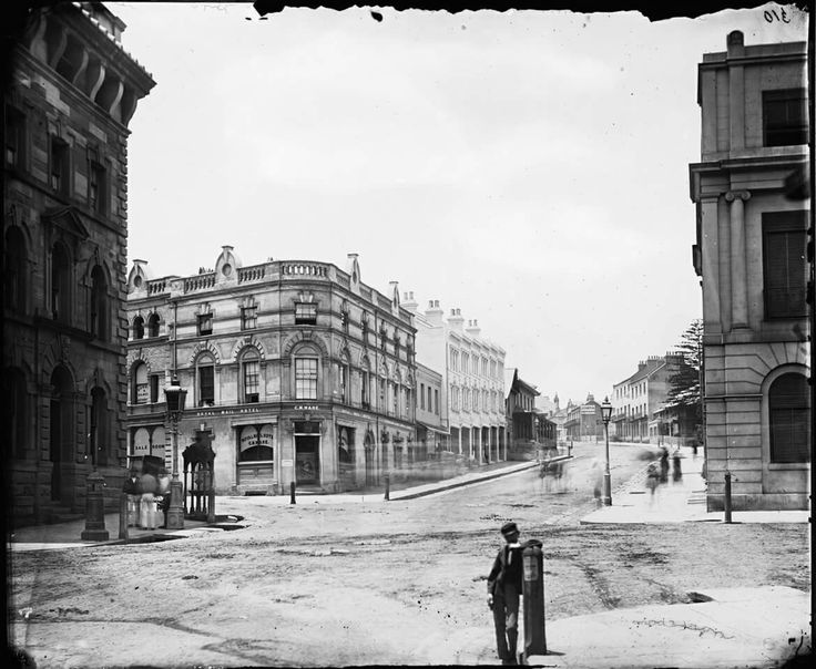 Looking east up Hunter St, Sydney from the corner of Pitt and O'Connell Streets in 1870 State Library of NSW.