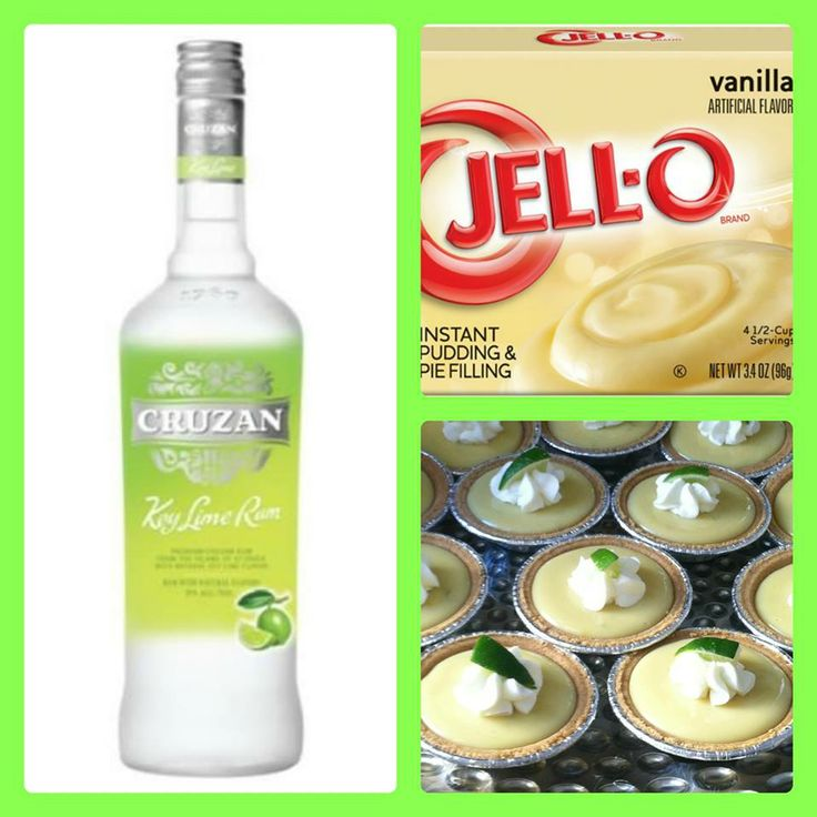KEY LIME PIE PUDDING SHOTS 1 small pkg. vanilla instant pudding, ¾ Cup Milk, 3/4 Cup key lime vodka, 8oz tub Cool Whip.  Directions:  1. Wisk together the milk, liquor, and pudding in a bowl until combined. 2. Whisk in cool whip a little at a time. 3. Spoon the mixture into shot glasses or mini pie crusts. Freeze for at least 2 hours. Garnish with graham cracker crumbs and whipped cream if desired.