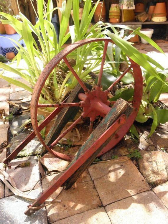 Salvaged Vintage Forged Rod Iron Red Wagon Wheel w/ by HiddenGlitz, $149.00