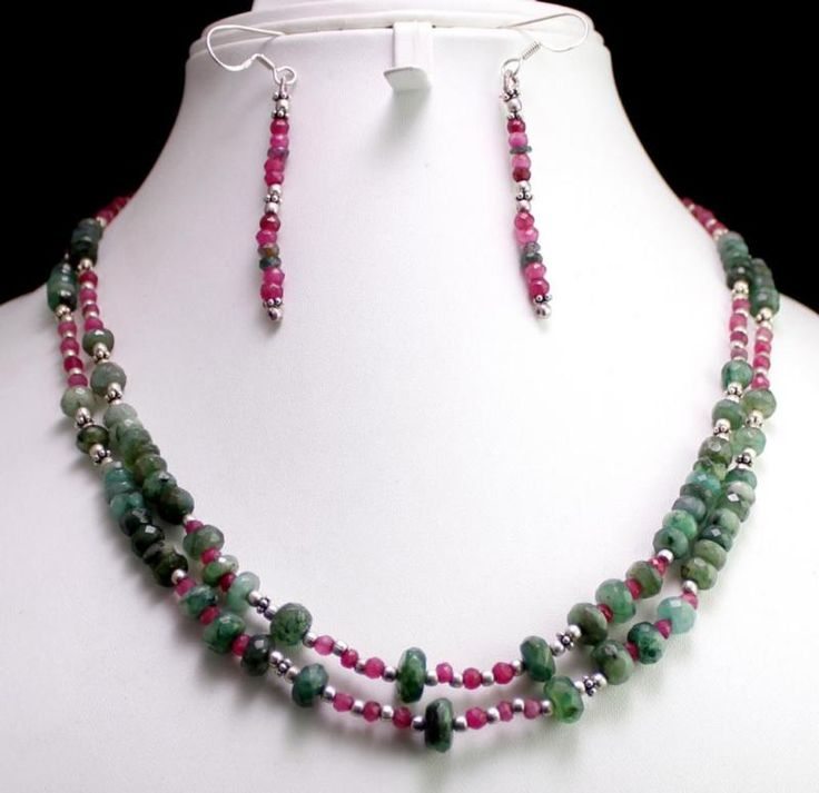 205ct Silver 925 Natural Ruby Emerald Gemstone Jewlery Necklace Earrings Set(kge205ct),for further details,visit us at www.krishnagemsnj...