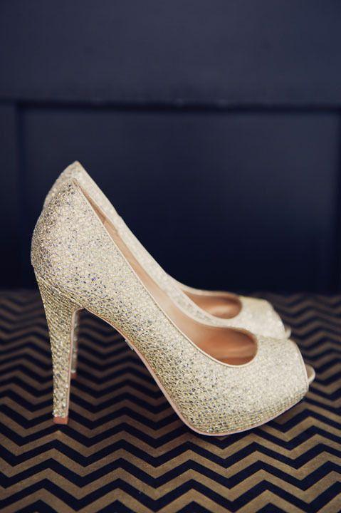Gold Badgley Mishka wedding shoes