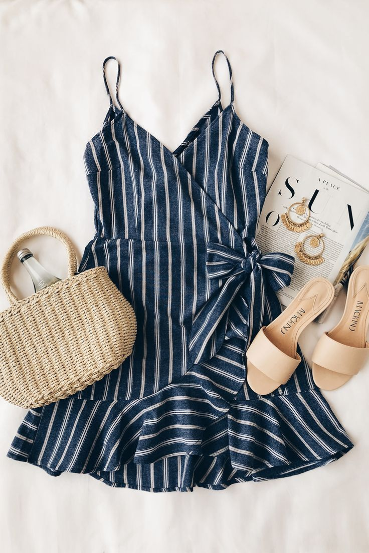 Voyage Blue And White Striped Wrap Dress Summer Outfits
