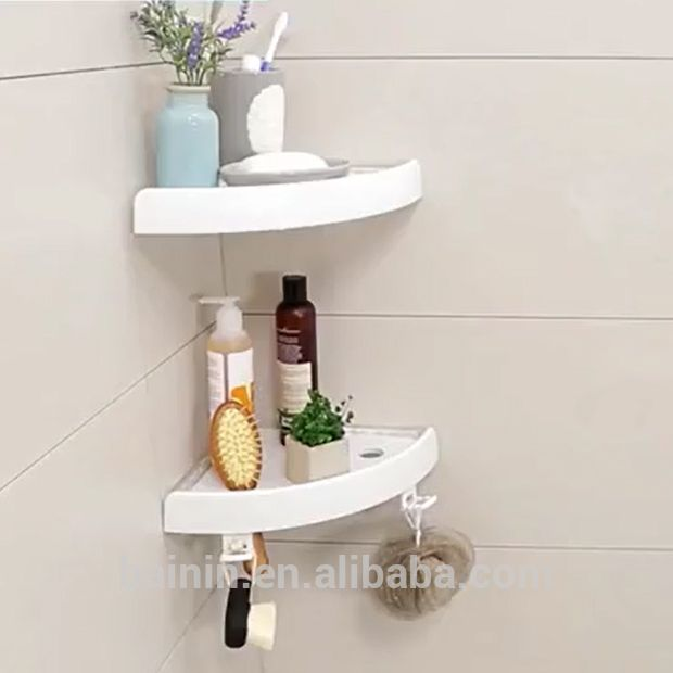 Double Sides Suction Cups Abs Tray Plastic Shelves Bathroom Corner