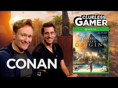 """(2) Clueless Gamer: """"Assassin's Creed Origins"""" With Aaron Rodgers  - CONAN on TBS - YouTube"""