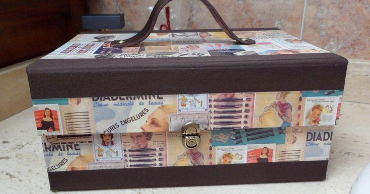 Realizado con papel satinado con motivos vintage retro y con muchas divisiones para labiales, brochas, lápices...