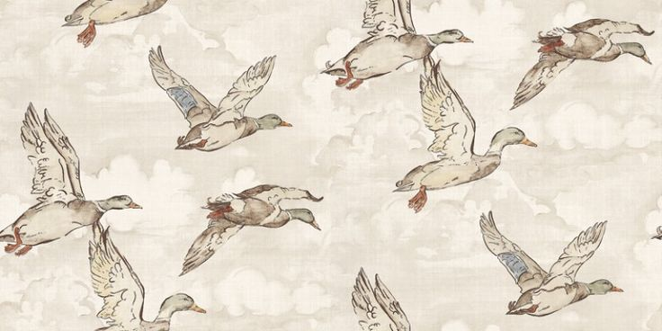 Flying Ducks (POB-015-01-0) - Albany Wallpapers - A charming design of flying mallard ducks - in soft neutral shades.  Perfect if you're looking for something a little fun at an affordable price. Please request sample for true colour match.