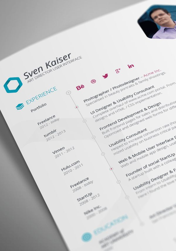 36 best resume images on Pinterest Resume design, Curriculum and - user interface designer resume