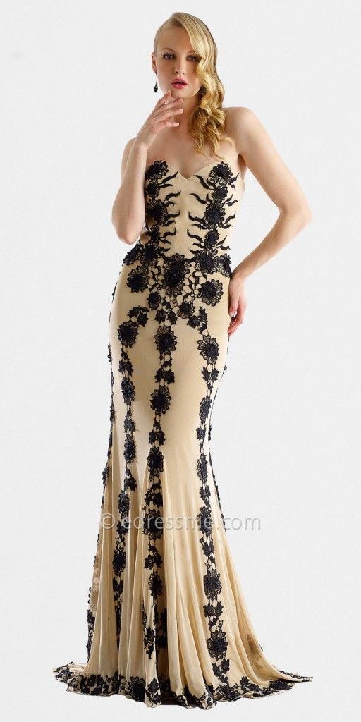 Sweetheart Sheer Rose Lace Evening Gowns