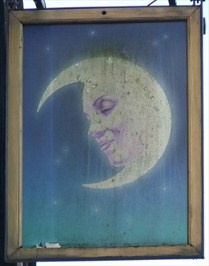 Half Moon pub sign - Hitchin, Herts, UK