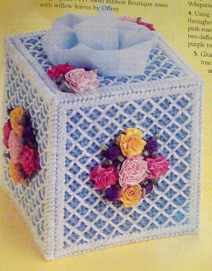 2 Tissue Box Plastic Canvas Patterns, Rose Lattice Flowers, Spring Plaid, Summer