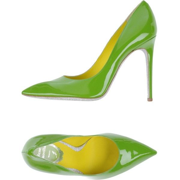 Rene' Caovilla Court ($325) ❤ liked on Polyvore featuring shoes, pumps, acid green, animal pump, green shoes, leather sole shoes, green leather pumps and real leather shoes