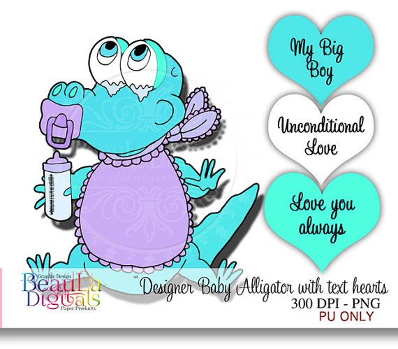 DIGITAL DIGI STAMPS  Cute Baby Alligator with by Beauladigitals