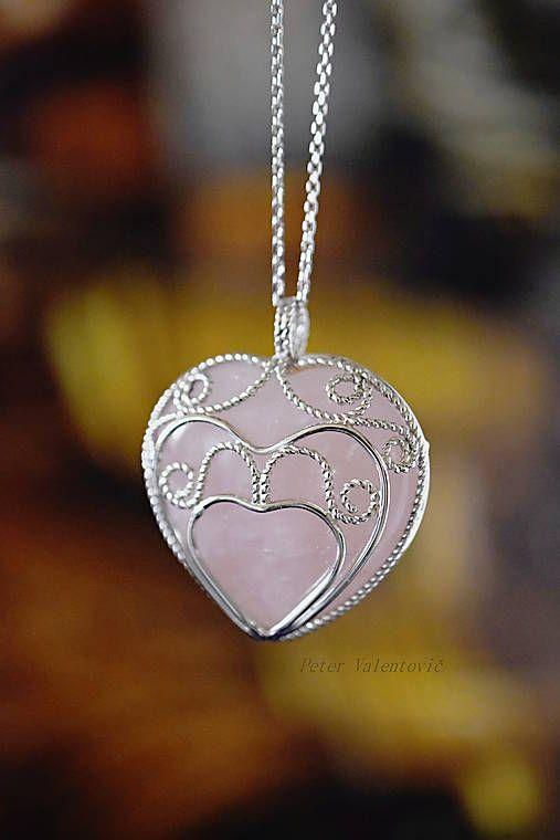 Pre lásku všetko / pendant rose quartz heart