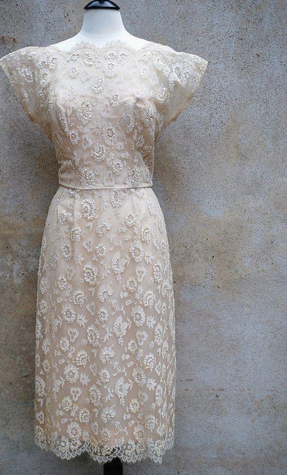 50's champagne lace tea length wedding dress $286.00