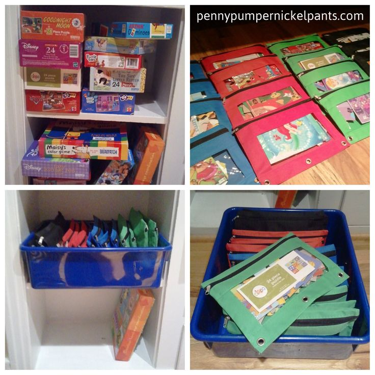Great way to condense puzzle storage. Playroom
