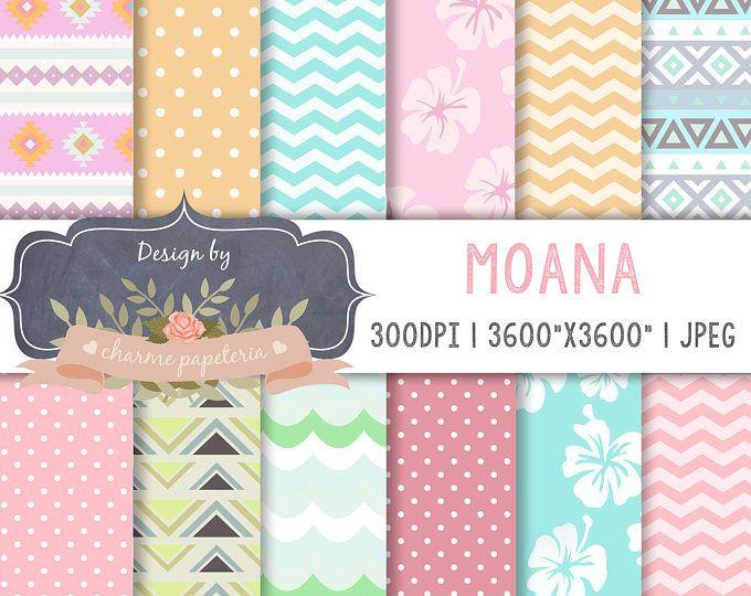 Papel digital venta de Moana, la princesa Moana, Moana Maui tortuga Digital papeles, tema de Moana, Vaiana digital, Moana de bebé, Hawaiano de papel