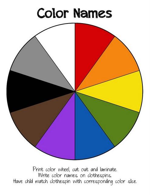 Preschool Printables: Color Names Wheel