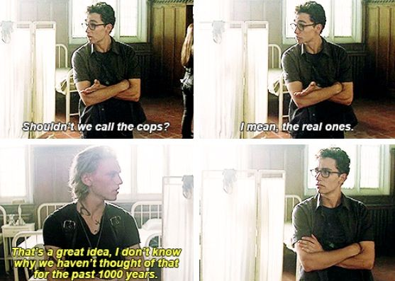 "The Mortal Instruments: City of Bones movie stills. I love this funny moment from the movie. Everything about it was great; the words, the tone, the facial expressions, and the characters involved. Conversation between Jace Wayland (played by Jamie Campbell Bower) and Simon Lewis (played by Robert Sheehan). Favorite moment is of course Jace's response, ""I don't know why we haven't thought of that for the past 1000 years."" His humor in this movie was perfect."