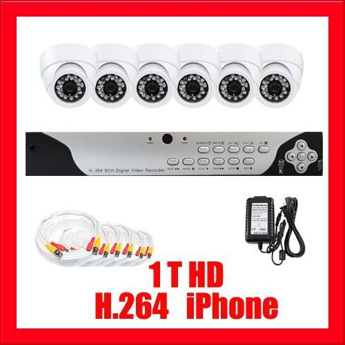 """Complete Professional 8 Channel H.264 DVR with 6 x 1/3"""" SONY CCD Cameras, , 520 TV lines. iPhone support, Central Management System (1T HDD) by Gw. $670.00. Package Includes:      GW9108V DVR with 1T HDD,     Remote Control and mouse,     DVR User Manual,     6 x GW728H: 1/3"""" SONY CCD Cameras,     2 x GW125CAW: 125 feet pre-made cable BNC,     2 x GW100CAW: 100 feet pre-made cable BNC,     2 x GW60CAW: 60 feet pre-made cable BNC,     1 x 12V5A Power Supply For Security..."""