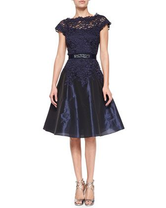 Cap-Sleeve Lace Bejeweled-Waist Cocktail Dress by Rickie Freeman for Teri Jon at Neiman Marcus.
