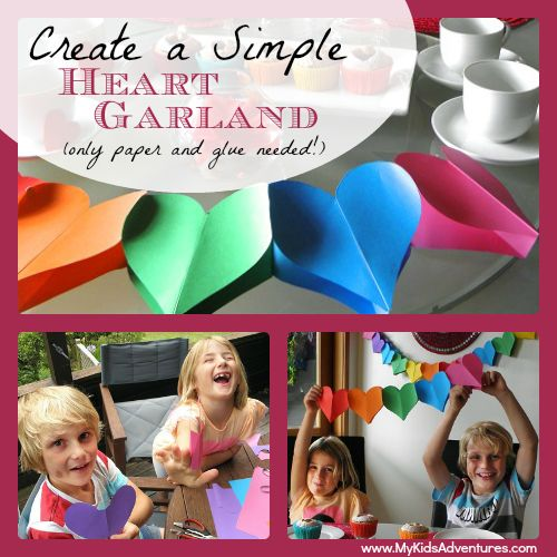 Make a 3-D valentine heart garland to decorate for a special valentine meal to show your kids how to express love through crafting fun.