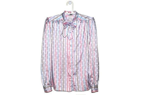 Vintage Pastel Striped Bow Blouse Button Up PussyBow Evan