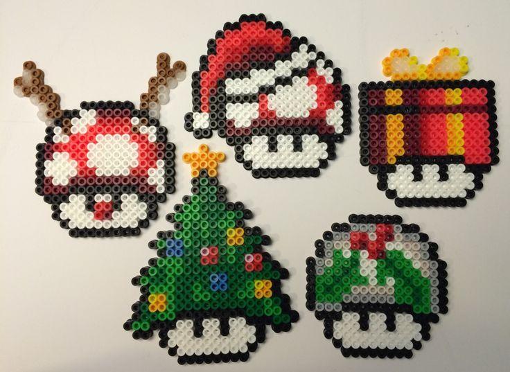 Set of 5 Mushroom Christmas tree ornaments perler beads by AlientonxPerlers