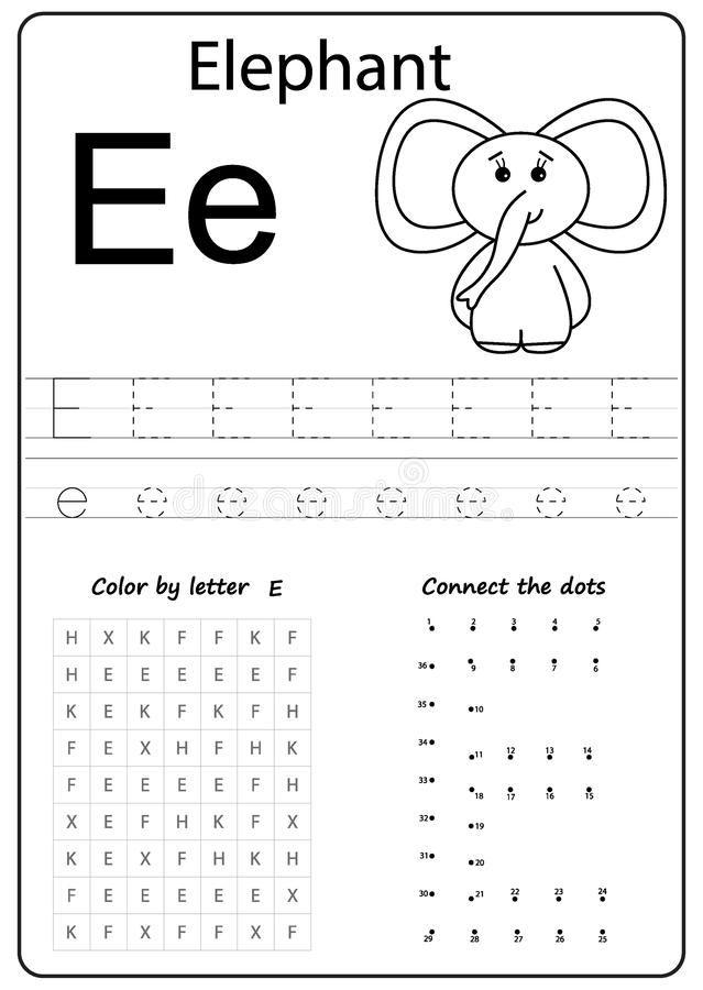 Writing Letter E Worksheet Writing A Z Alphabet Exercises Game For Kids Stock Vector Illustration Of Alphabet Worksheets Preschool Letter E Kids Writing Letter e writing worksheets preschool