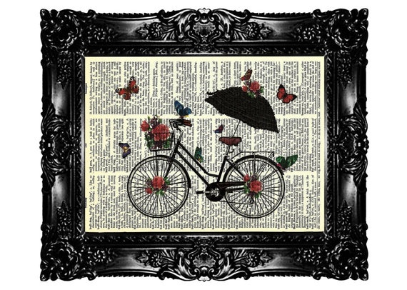 Retro Bicycle and Umbrella Butterfly Flowers Upcycled by nommon, $7.99