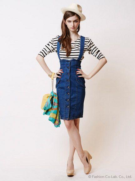 トレンドのハイウエスト&タイトスカートでスタイルアップ効果も抜群!bonica dot デニムハイウェストジャンスカ Trending high waisted skirt on ShopStyle