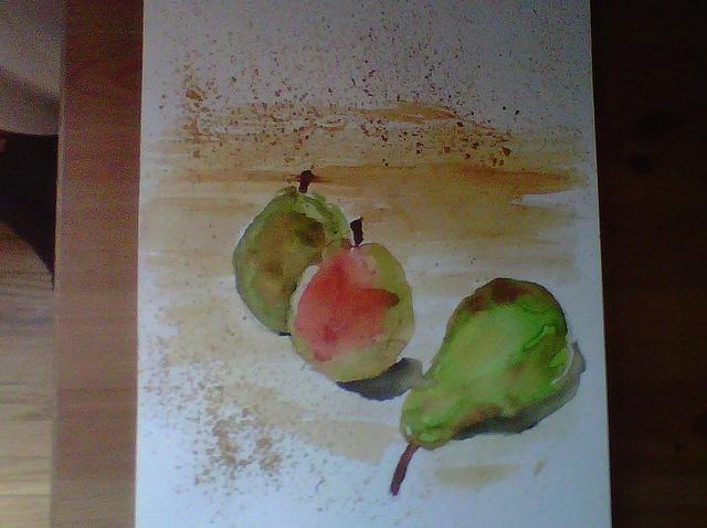 Pears in watercolour