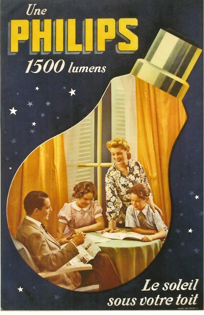 Original Vintage Poster Philips Light Bulb Family C 1940 | eBay