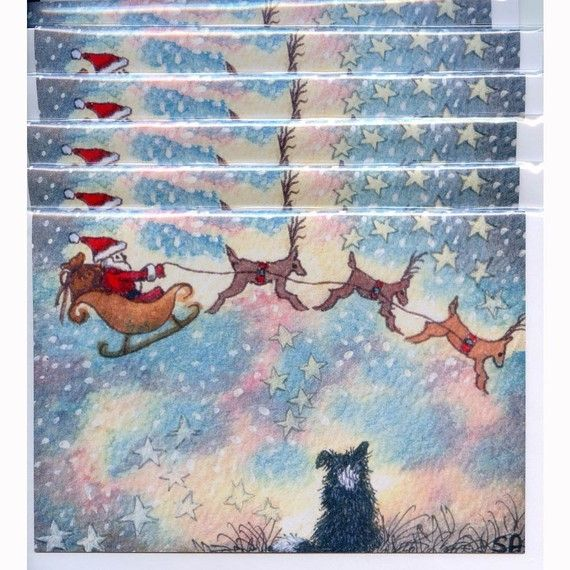 6 x Border Collie dog Christmas cards  Trailing Clouds of