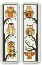Cute cross-stitch owl bookmarks from Bookmark Medley