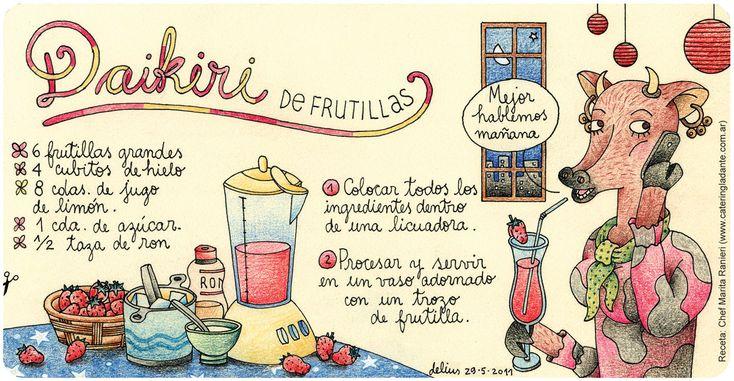 Daikiri de frutillas // frutillas = nombre común en América del Sur del fruto de la fragaria (conocida como fresa en Europa y algunos países de Hispanoamérica).