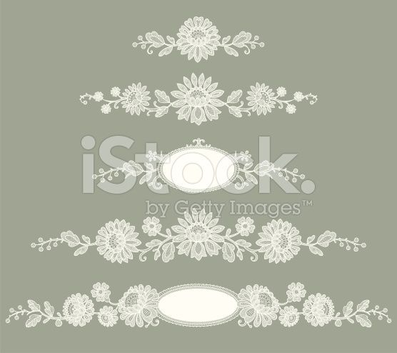 White Lace. Clip Art. Green Background. Set. royalty-free stock vector art