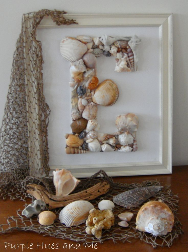 DIY Seashell Monogram: definitely collecting some sea shells on our vacation! Would love a beach theme in the boys bathroom!