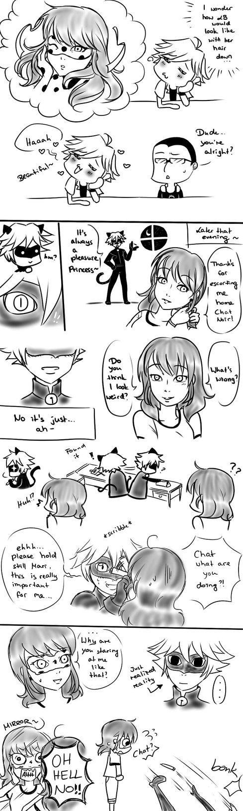 Miraculous Ladybug & Chat Noir - Chat Noir and Marinette - Loose hair - MLB Comic by kaminekoshi.deviantart.com