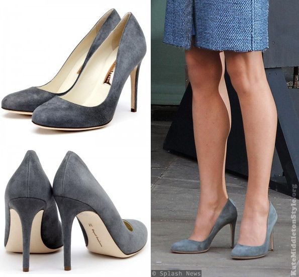 Kate's wearing her Rupert Sanderson Malone heels, which are a grey suede colour.