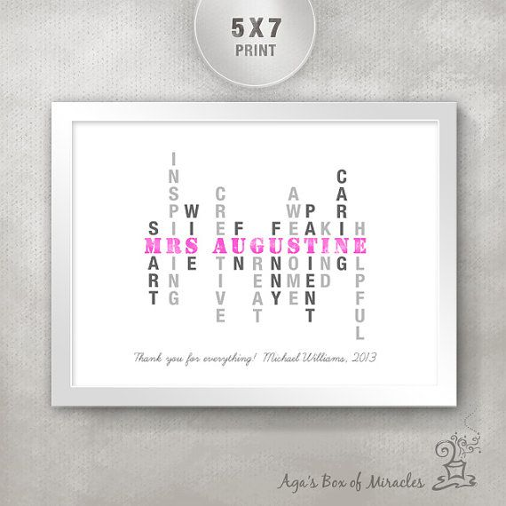 Personalized Teacher's Inspirational Print (5x7) / Inspirational Typography / Unique Teacher Appreciation Gift / Custom Design