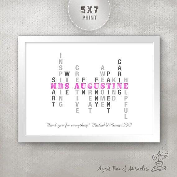 Personalized Teacher's Inspirational Print (5x7) / Inspirational Typography / Unique Teacher Appreciation Gift / Custom Design
